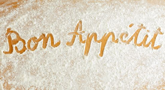 Close up of words written in flour